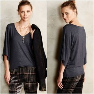 Anthropologie Deletta Charcoal Grey 3/4 Sleeve Top